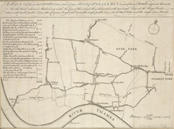 A plan of the several roads described in ye two acts of Parliament, and of divers road adjacent thereunto